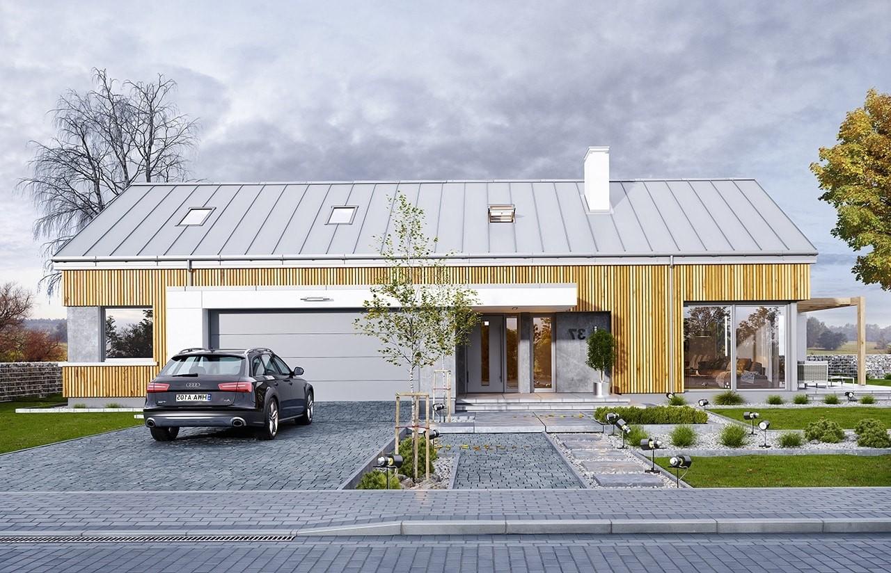 Projekt domu Wymarzony 4 - wizualziacja frontowa odbicie lustrzane