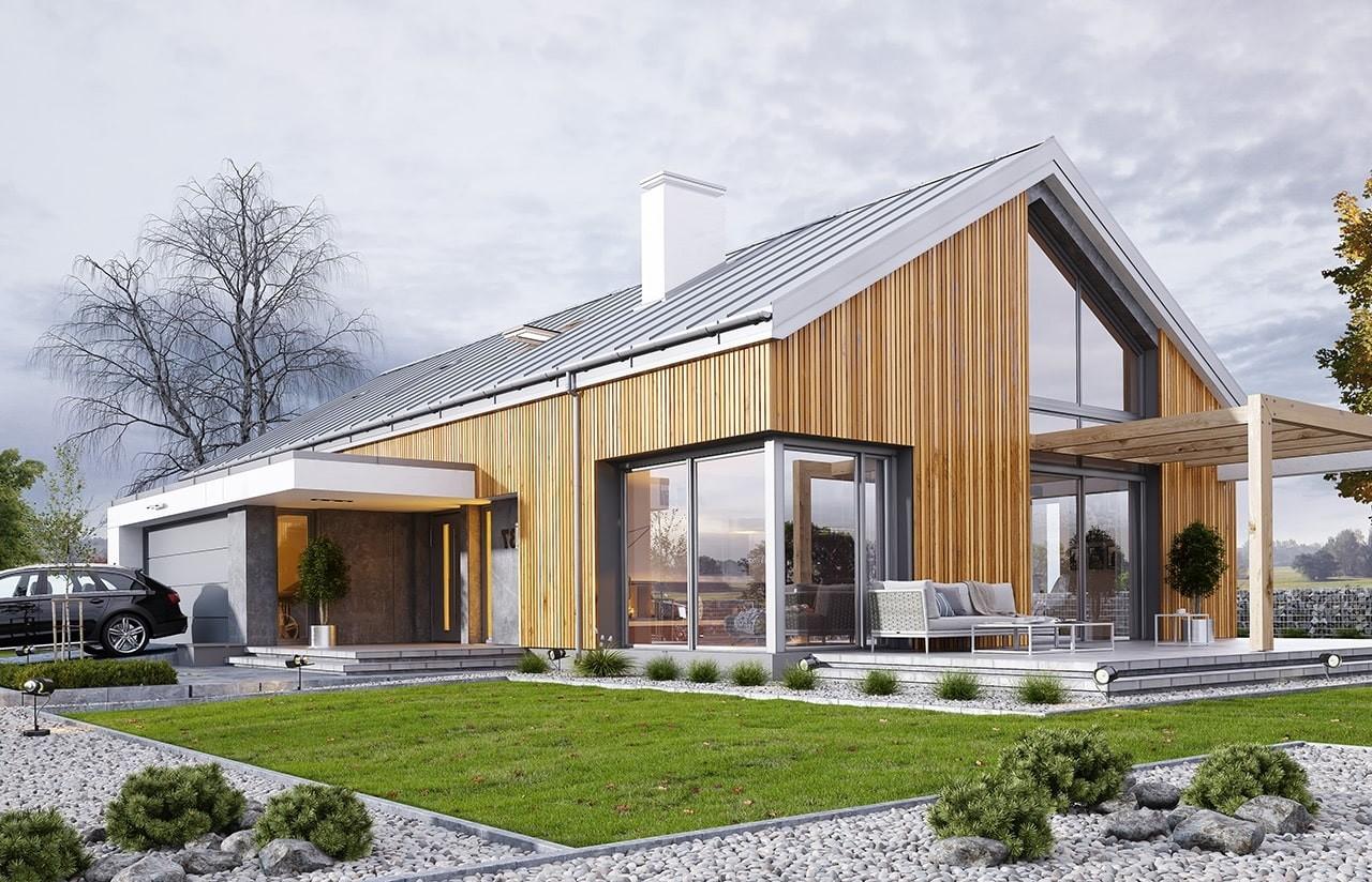 Projekt domu Wymarzony 4 - wizualziacja tylna odbicie lustrzane