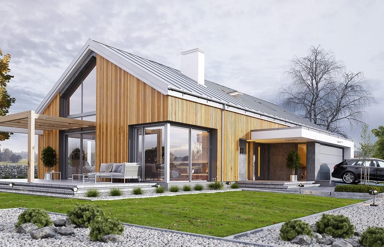Projekt domu Wymarzony 4 - wizualziacja tylna