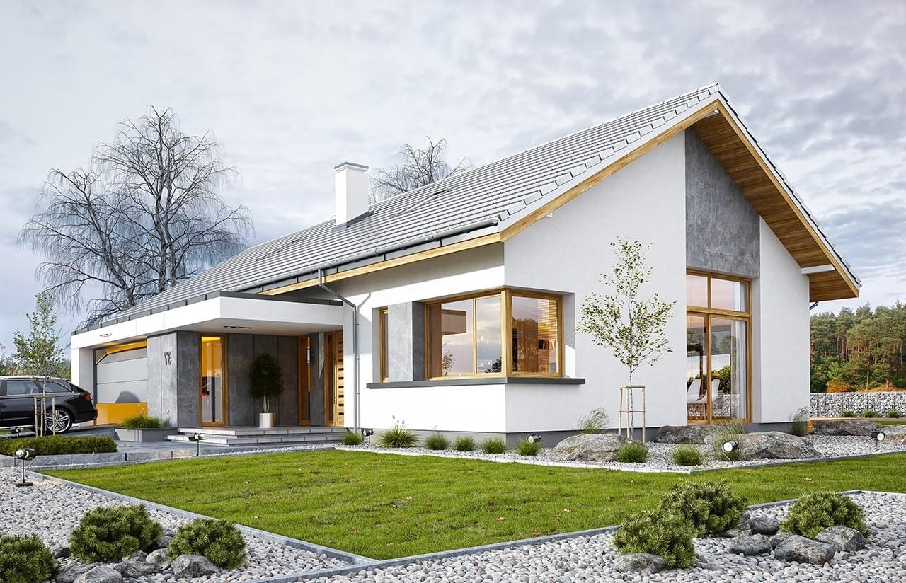 Projekt domu Wymarzony 5 - wizualizacja frontowa odbicie lustrzane
