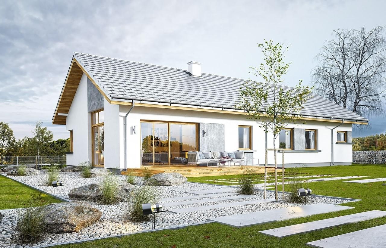Projekt domu Wymarzony 5 - wizualizacja tylna odbicie lustrzane