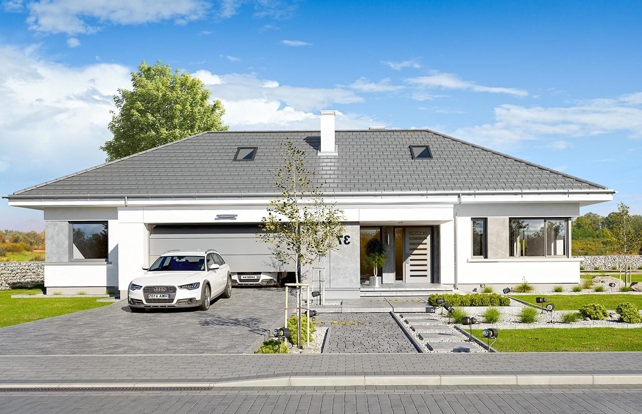 Projekt domu Wymarzony 6 - wizualizacja frontowa odbicie lustrzane