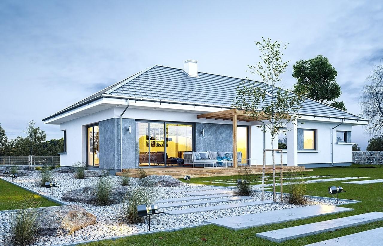 Projekt domu Wymarzony 6 - wizualizacja tylna odbicie lustrzane