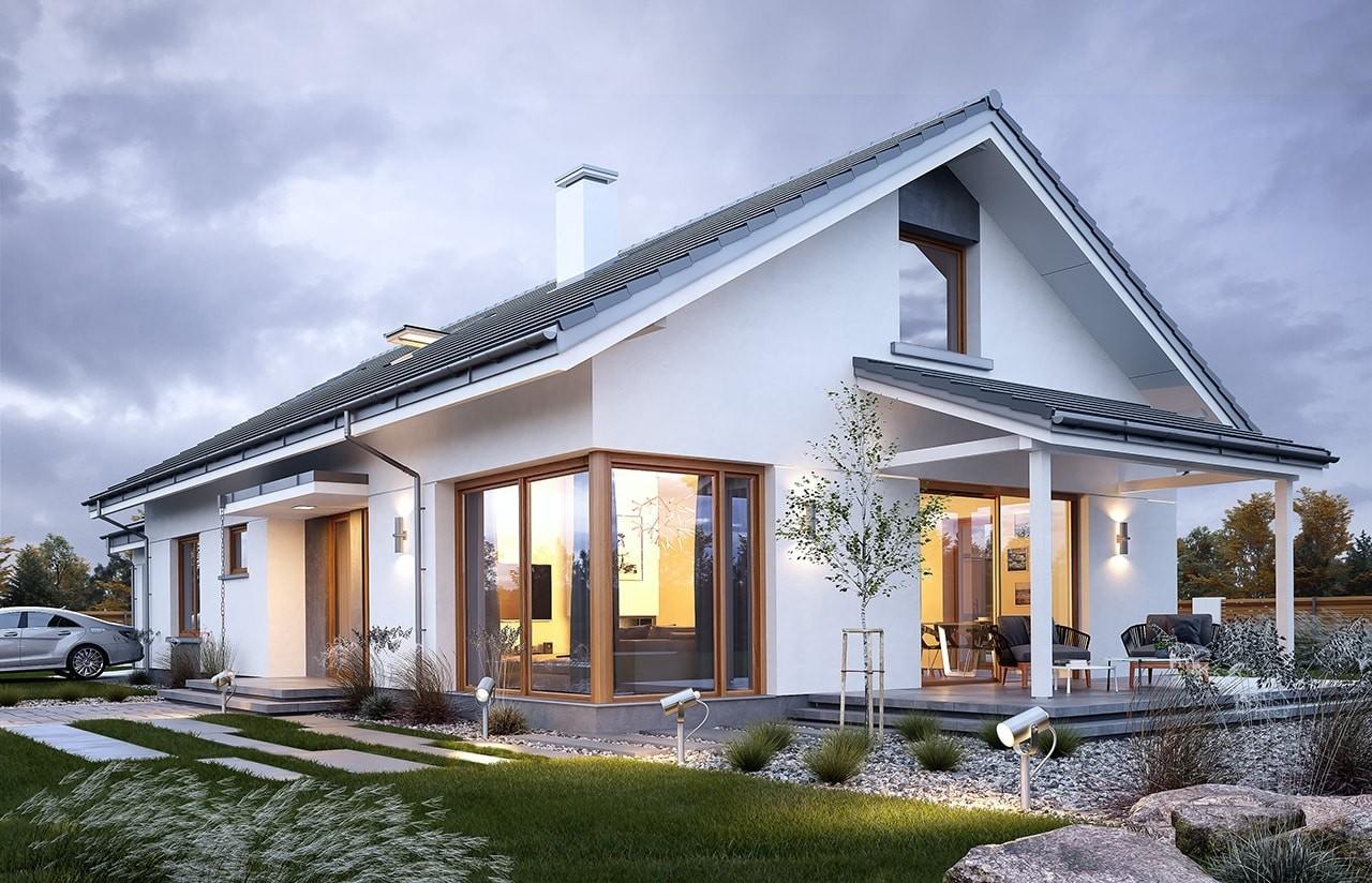 Projekt domu Wymarzony 7 - wizualizacja boczna odbicie lustrzane