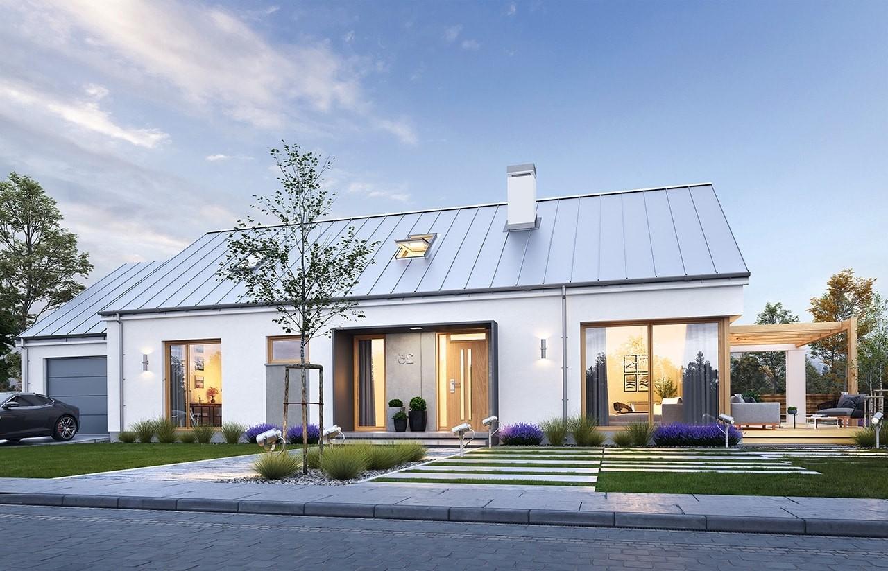 Projekt domu Wymarzony 8 - wizualizacja frontowa odbicie lustrzane