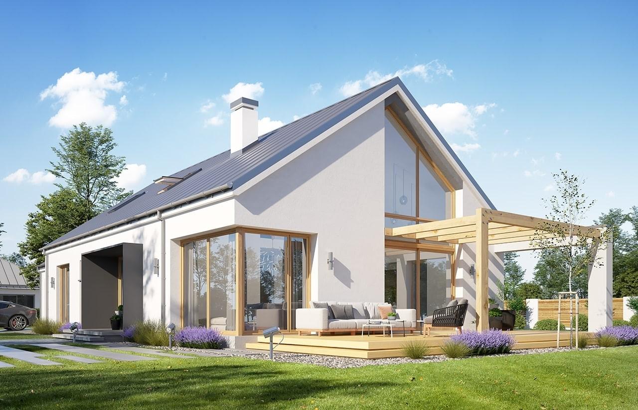 Projekt domu Wymarzony 8 - wizualizacja tylna odbicie lustrzane