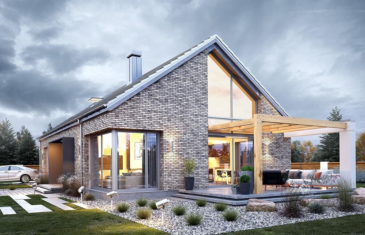 Projekt domu Wymarzony 9 - wizualizacja tylna odbicie lustrzane