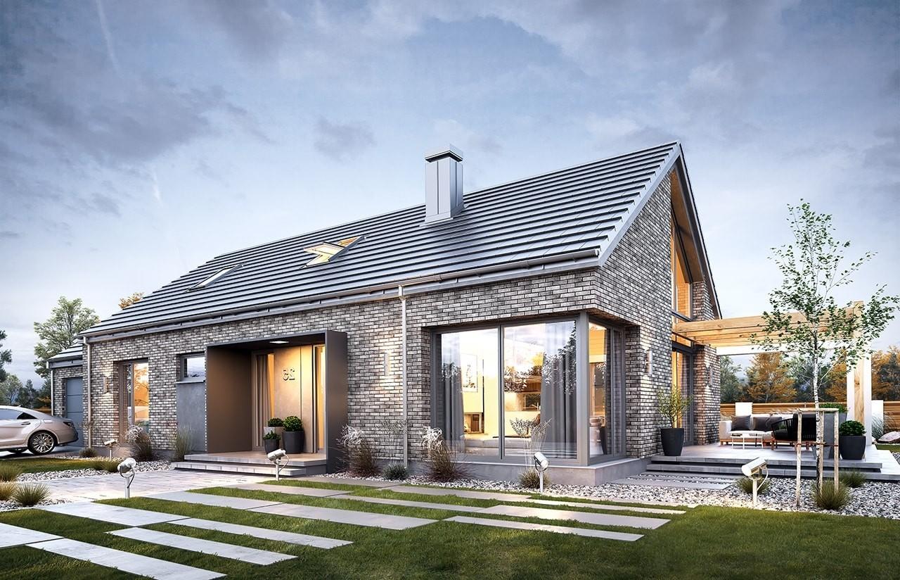 Projekt domu Wymarzony 9 - wizualizacja frontowa odbicie lustrzane