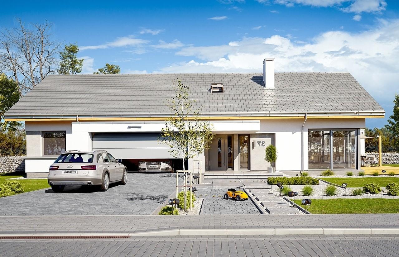 Projekt domu Wymarzony - wizualizacja frontowa odbicie lustrzane