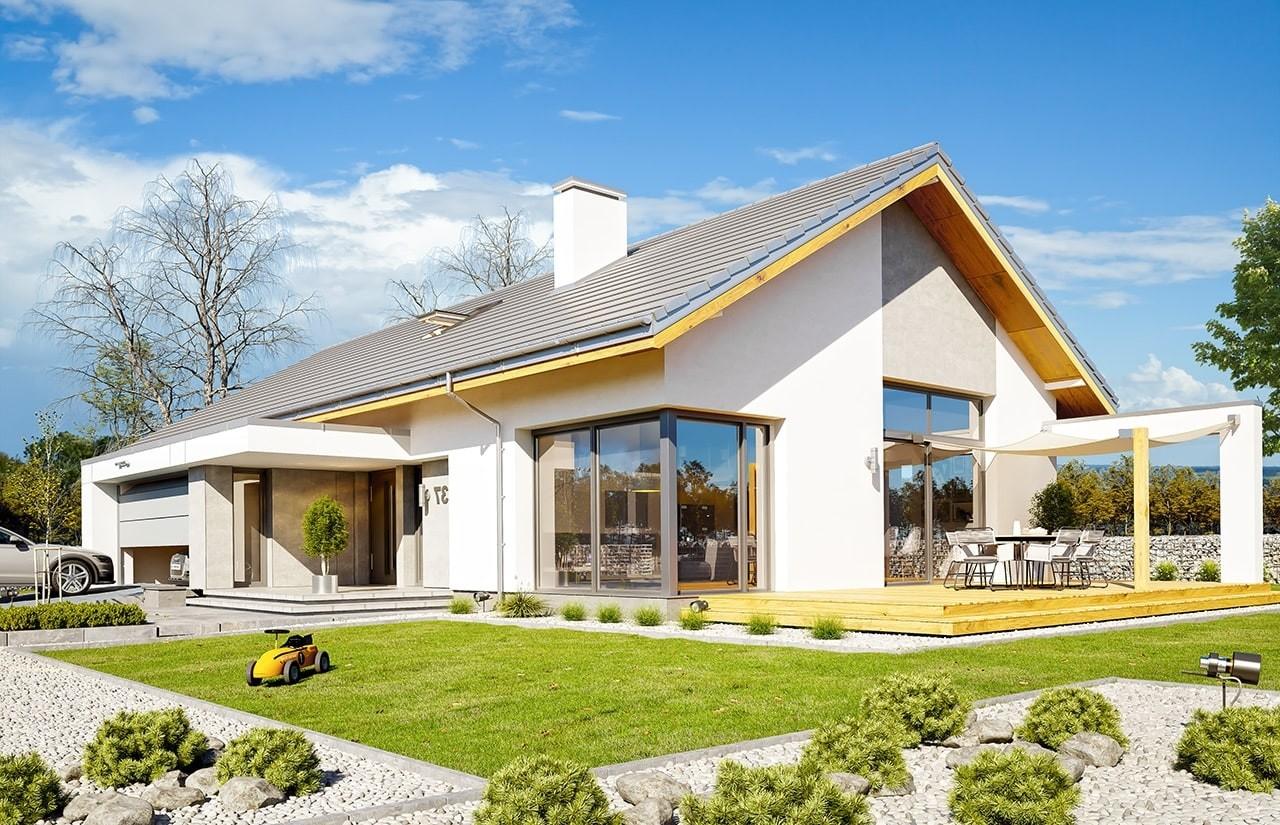 Projekt domu Wymarzony - wizualizacja tylna odbicie lustrzane