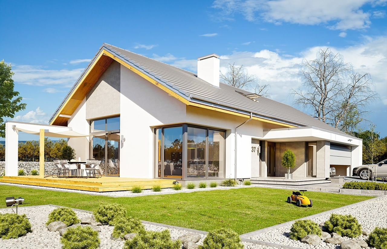 Projekt domu Wymarzony - wizualizacja tylna