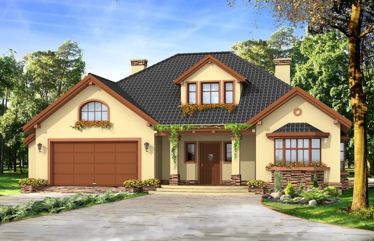 Projekt domu Zacisze 2 - wizualizacja frontowa
