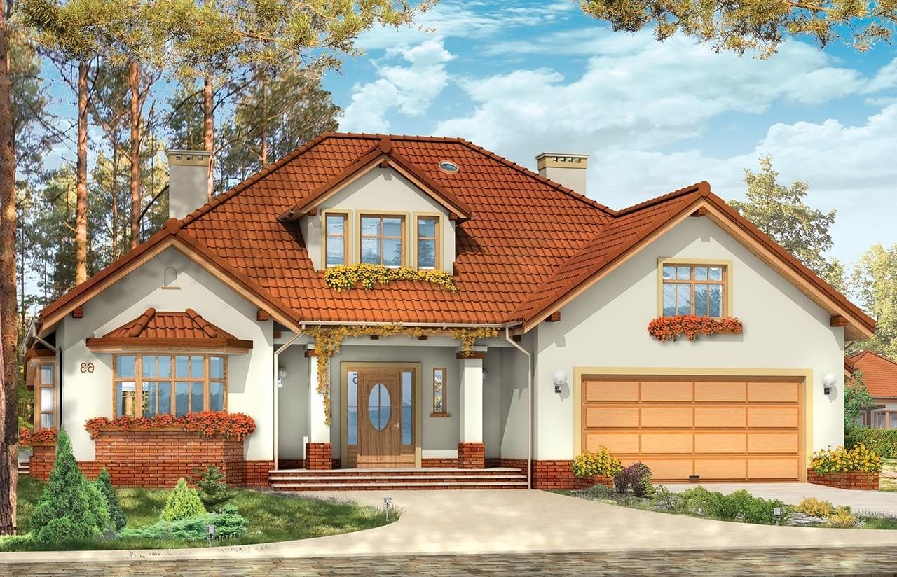 Projekt domu Zacisze 3 - wizualizacja frontowa odbicie lustrzane