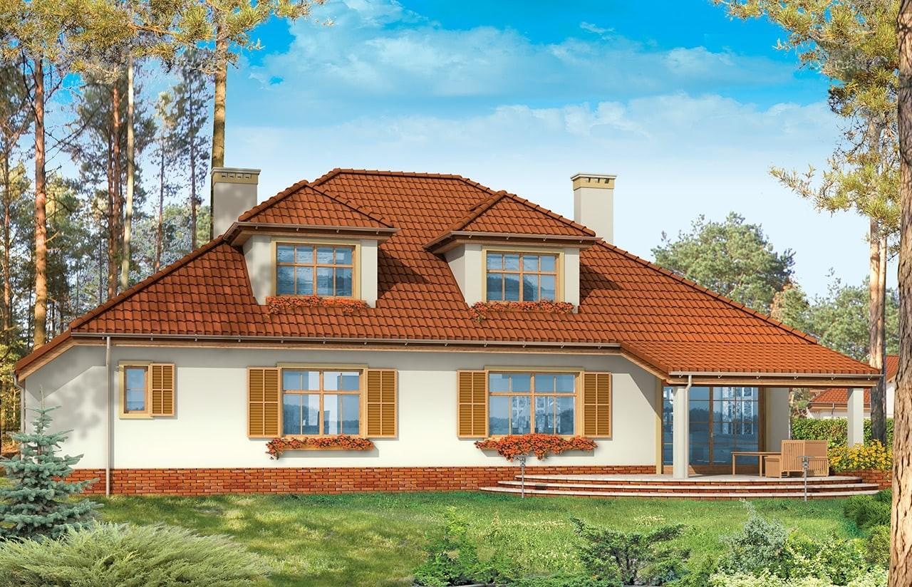 Projekt domu Zacisze 3 - wizualizacja tylna odbicie lustrzane