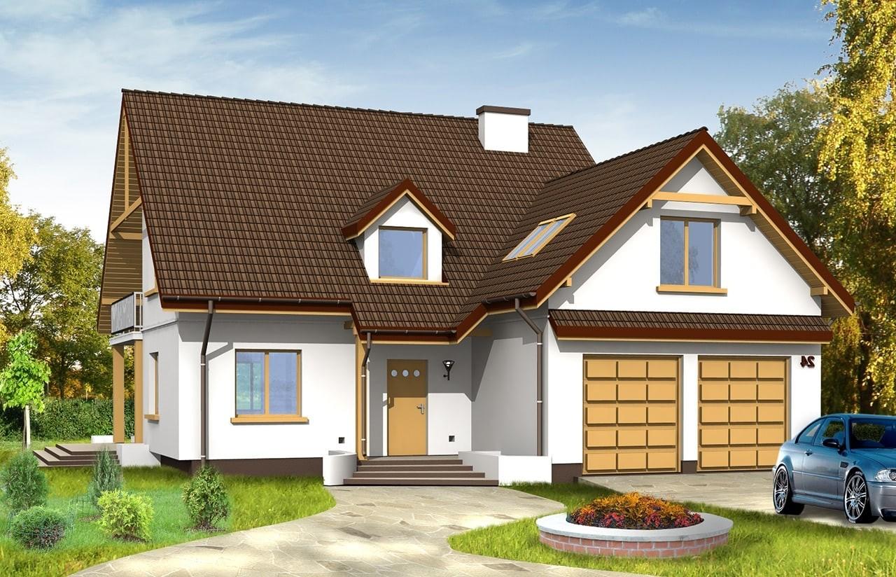 Projekt domu Zalesie - wizualizacja frontowa odbicie lustrzane