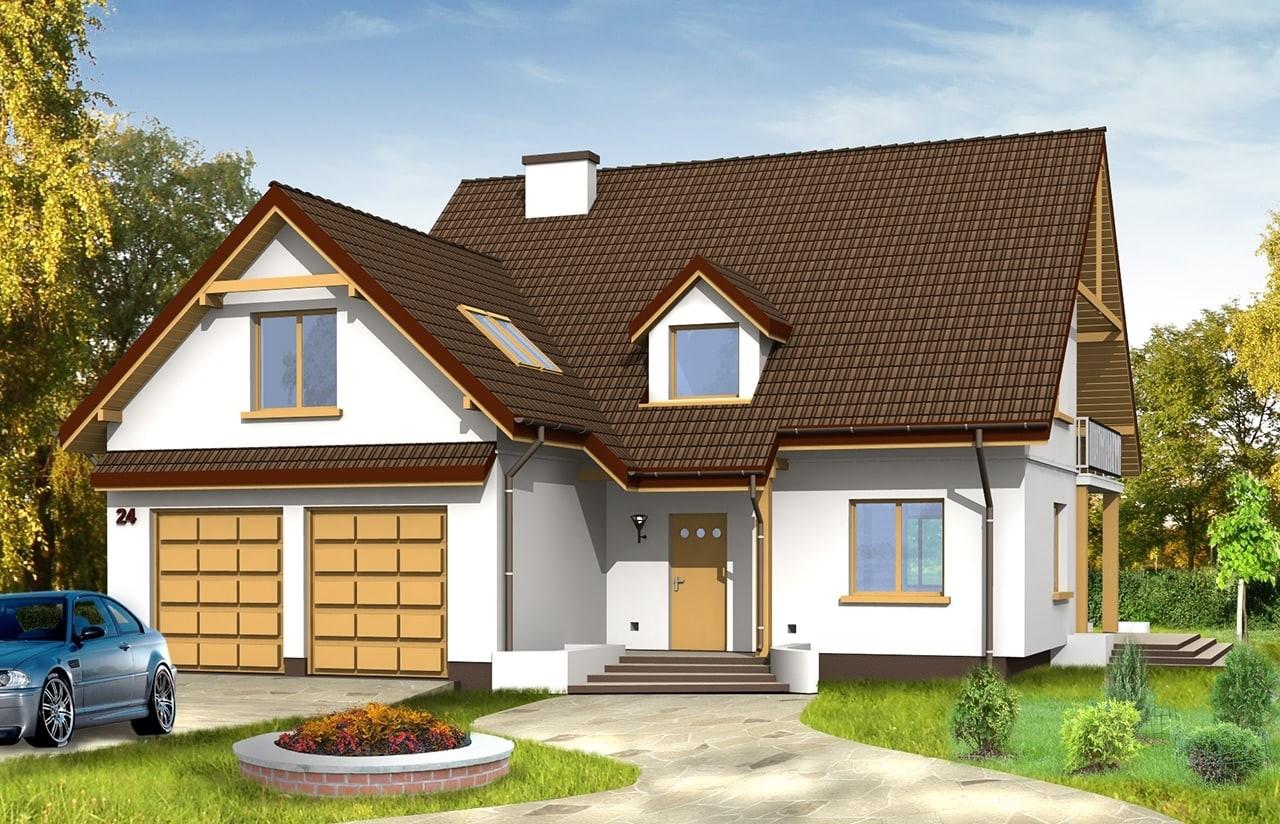 Projekt domu Zalesie - wizualizacja frontowa