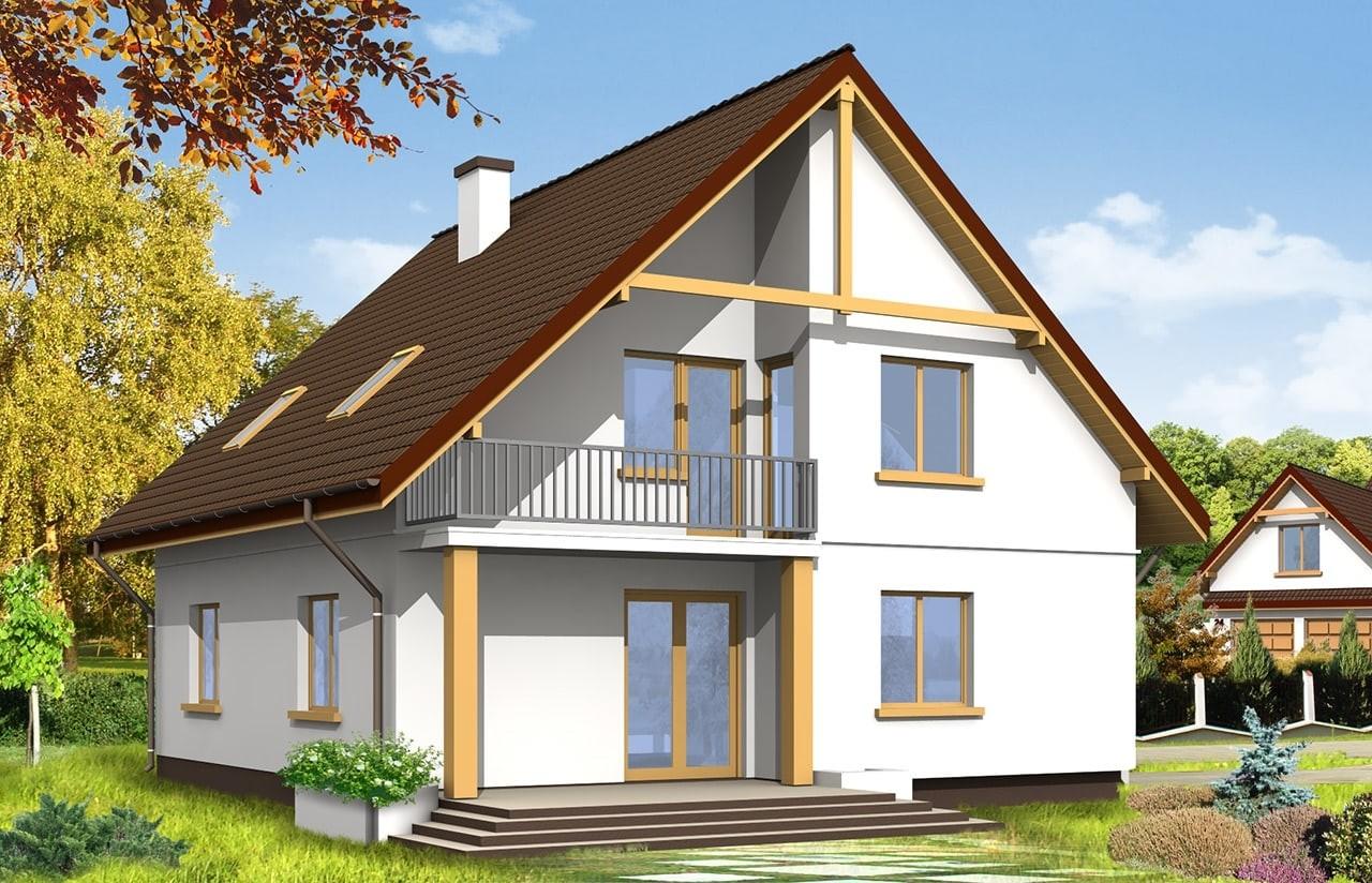 Projekt domu Zalesie - wizualizacja tylna odbicie lustrzane