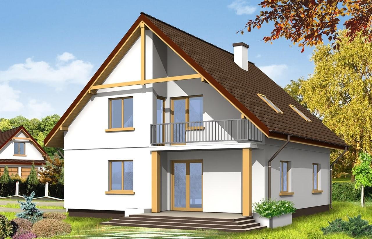 Projekt domu Zalesie - wizualizacja tylna
