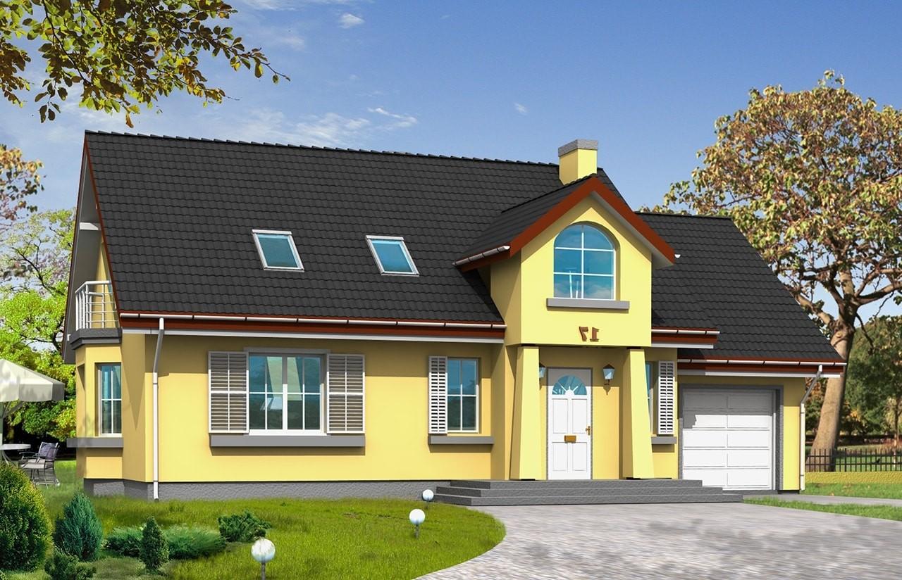 Projekt domu Zgrabny 2 - wizualizacja frontowa odbicie lustrzane