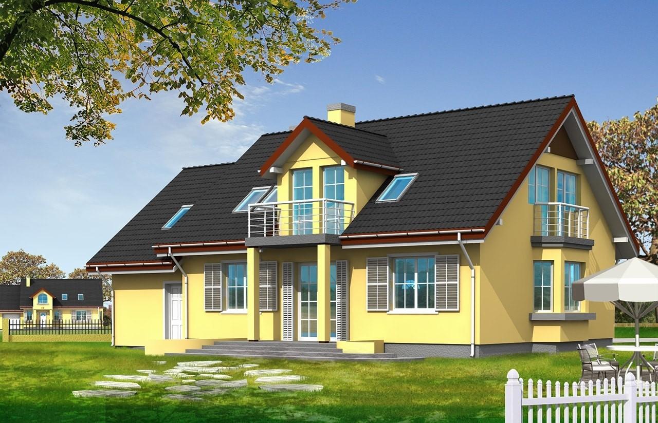 Projekt domu Zgrabny 2 - wizualizacja tylna odbicie lustrzane