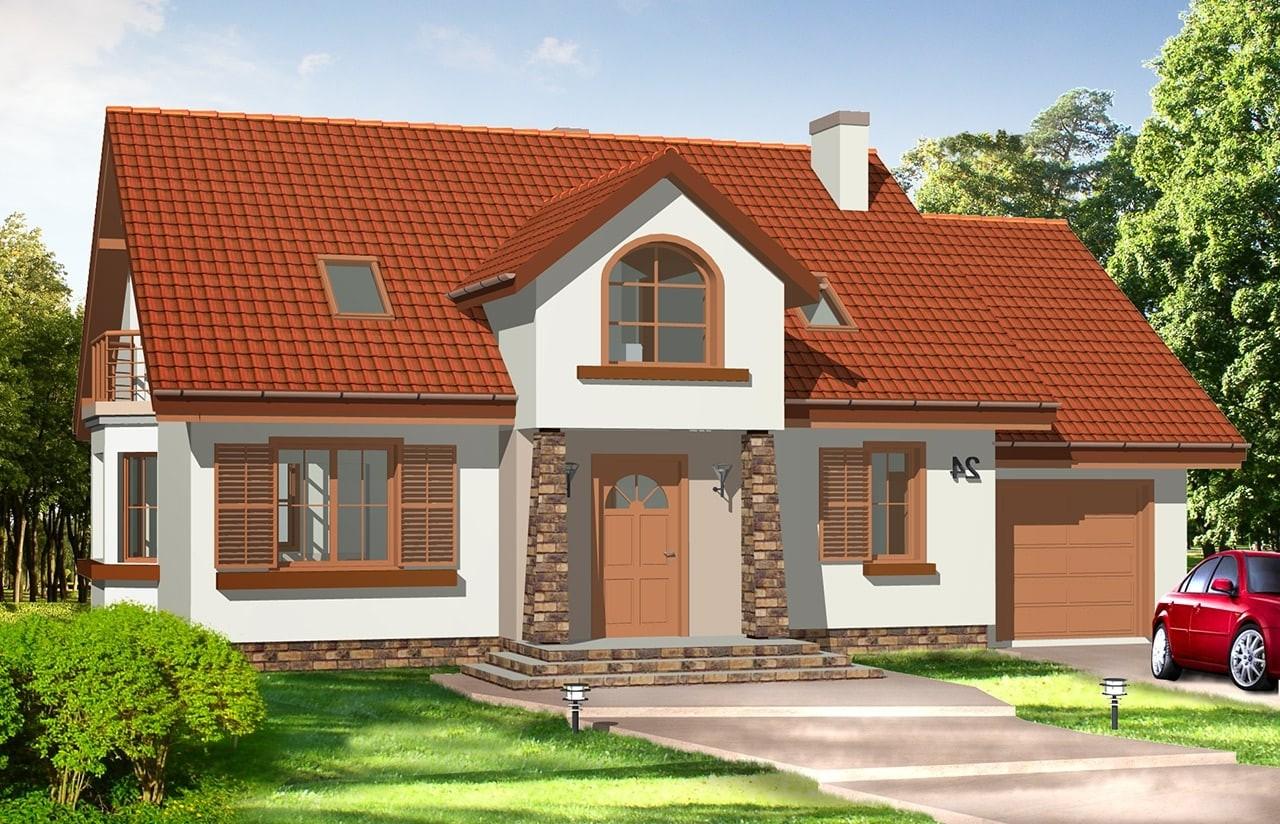 Projekt domu Zgrabny 3 - wizualizacja frontowa odbicie lustrzane