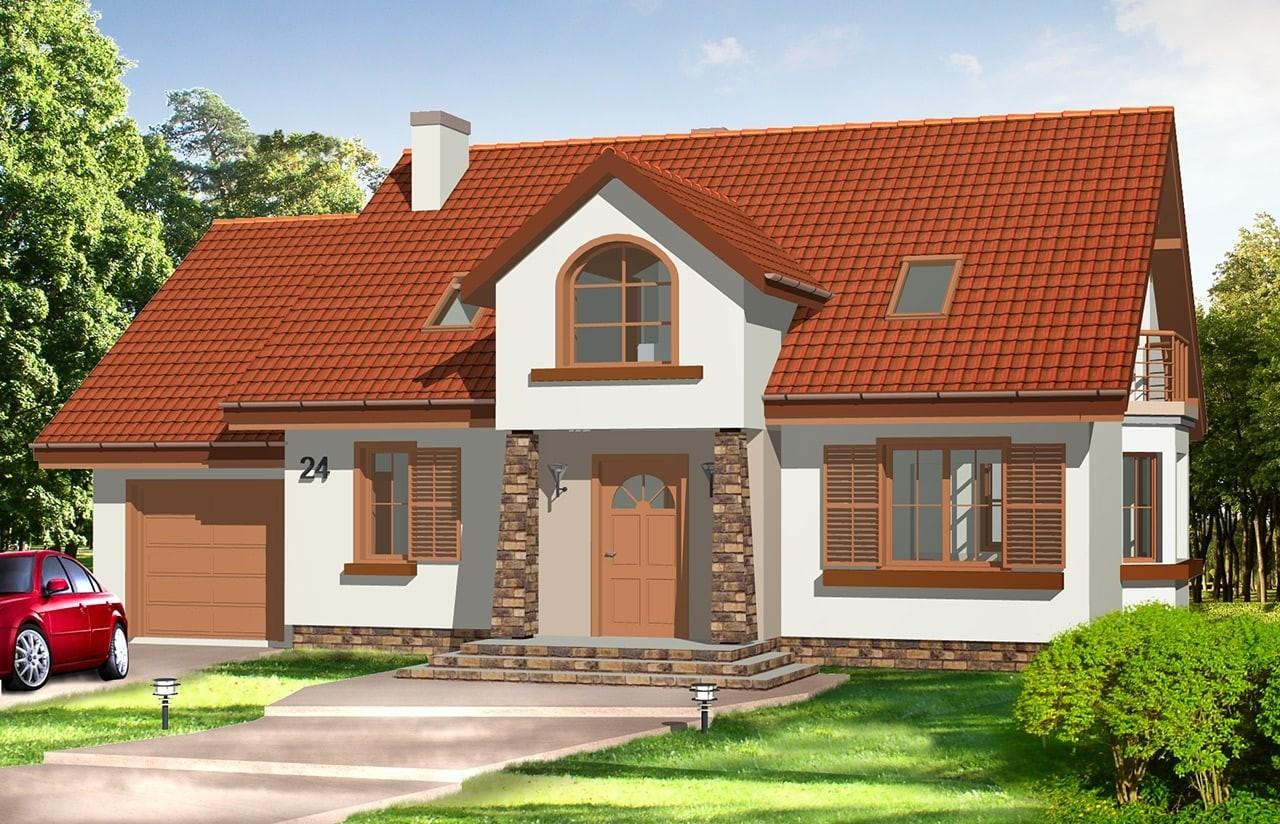 Projekt domu Zgrabny 3 - wizualizacja frontowa