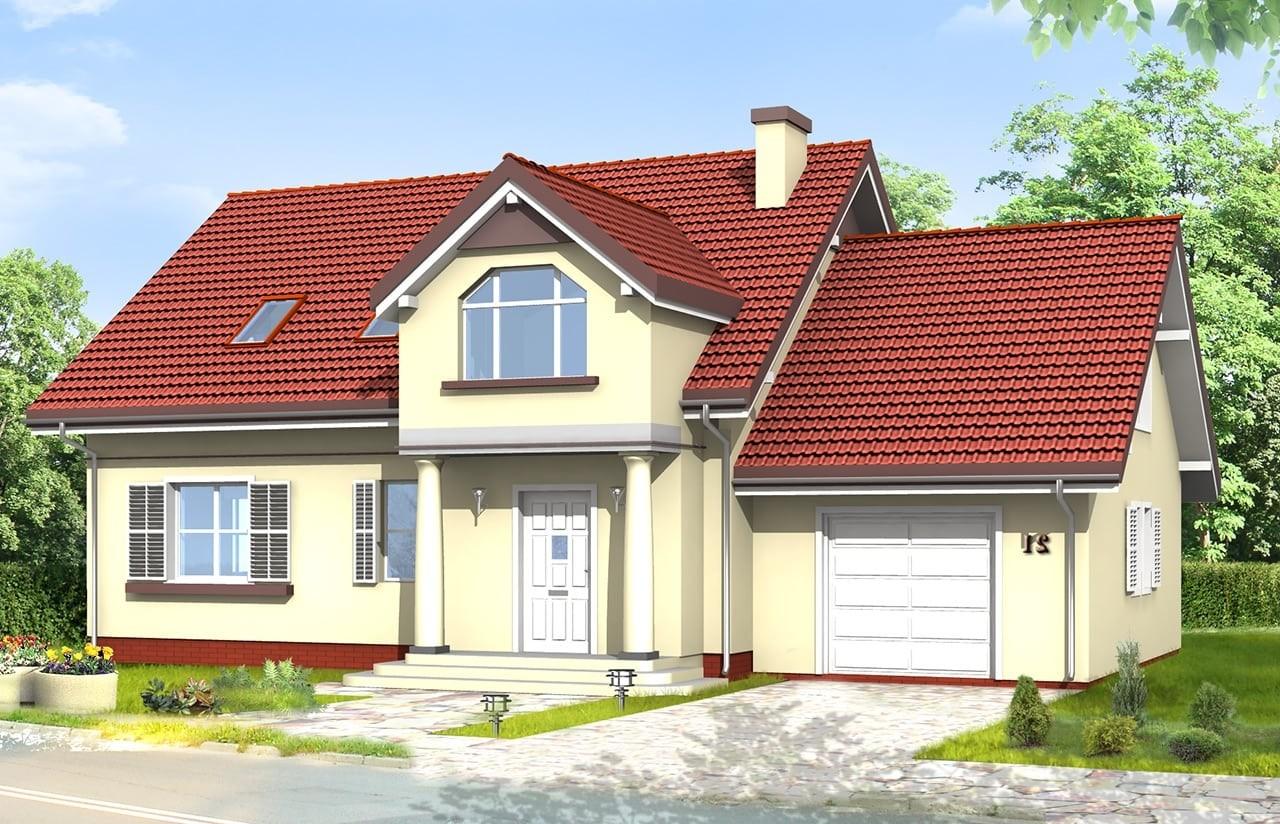 Projekt domu Zgrabny 4 - wizualizacja frontowa 2 odbicie lustrzane