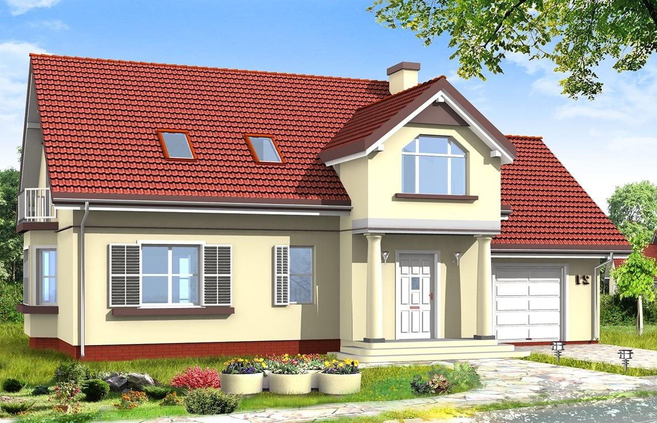 Projekt domu Zgrabny 4 - wizualizacja frontowa odbicie lustrzane