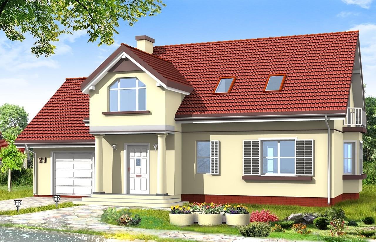 Projekt domu Zgrabny 4 - wizualizacja frontowa