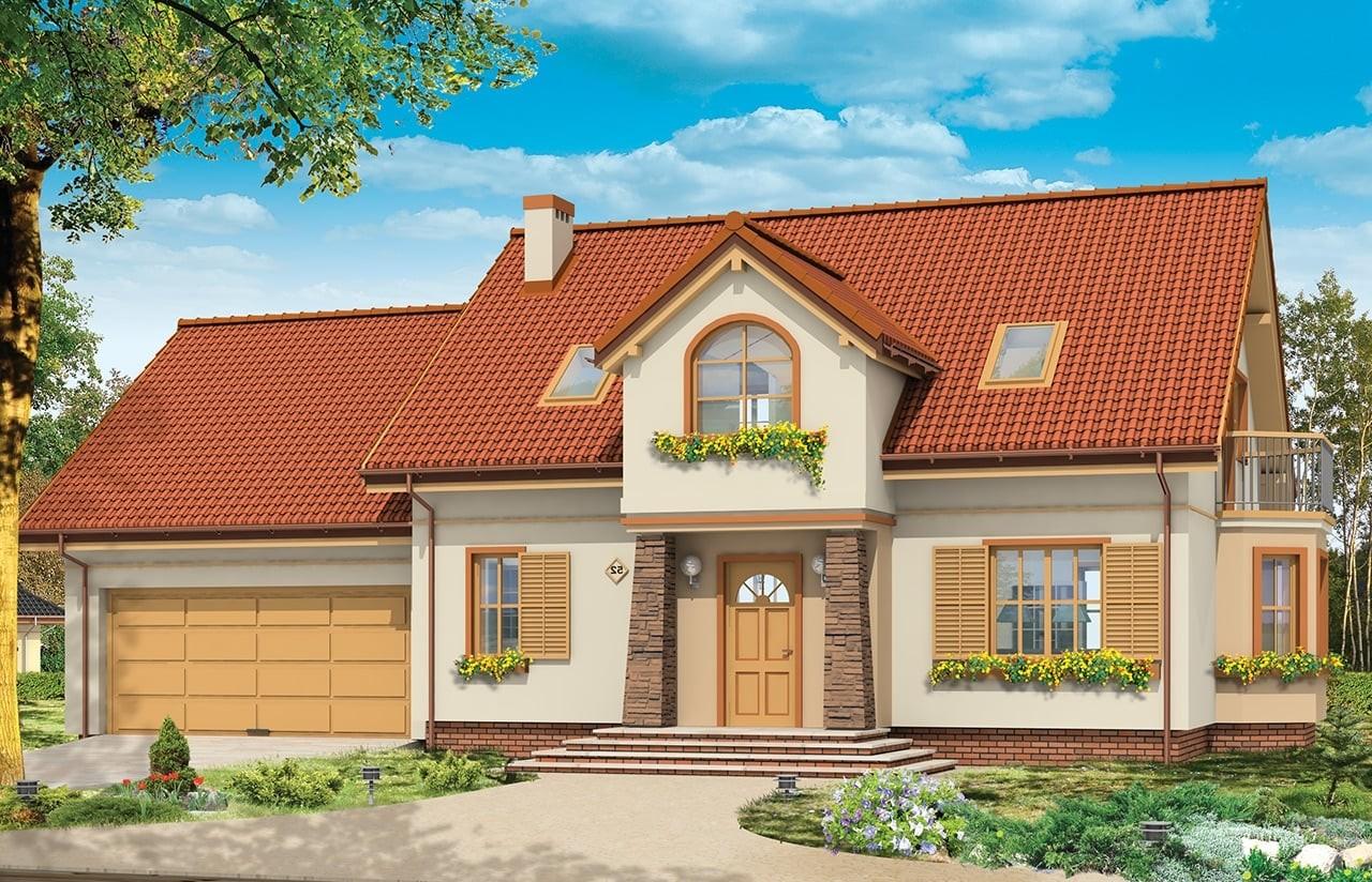 Projekt domu Zgrabny 5 - wizualizacja frontowa odbicie lustrzane