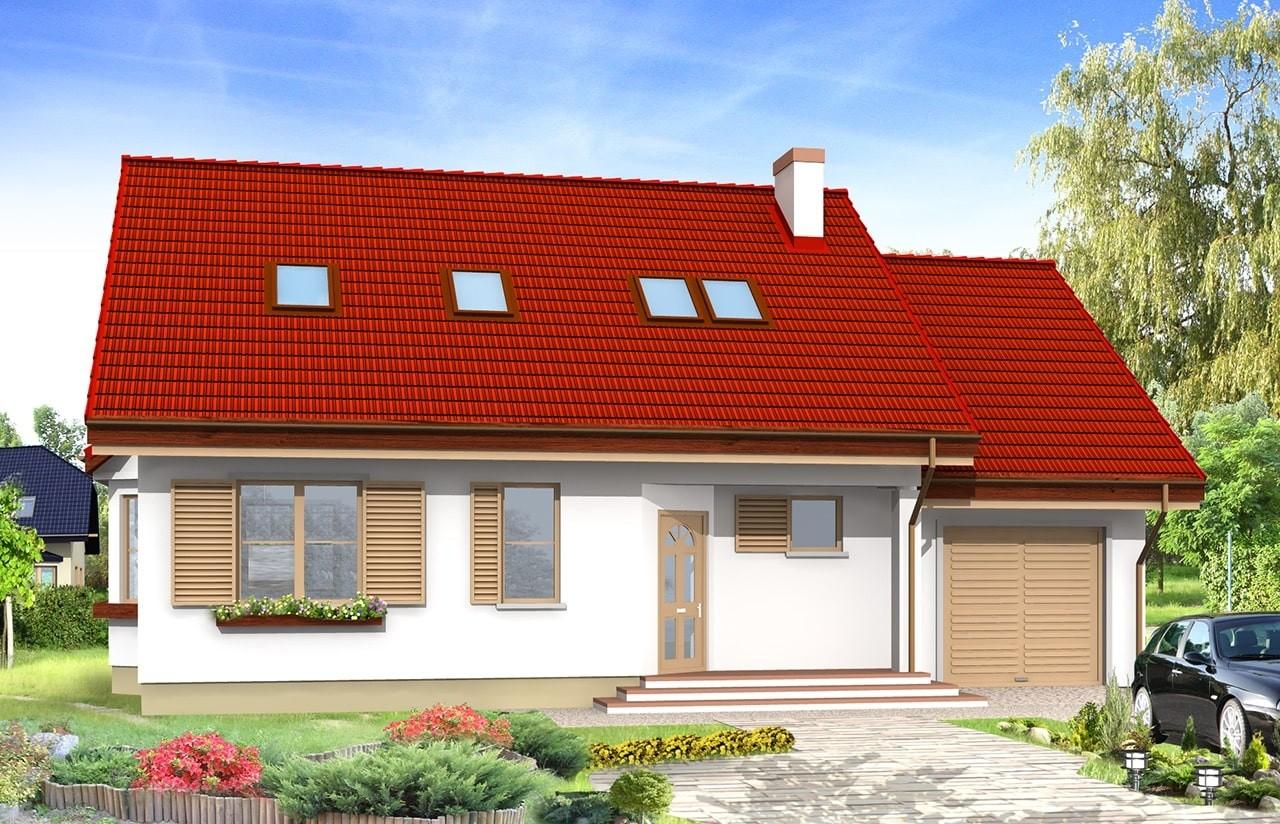 Projekt domu Zgrabny - wizualizacja frontowa odbicie lustrzane