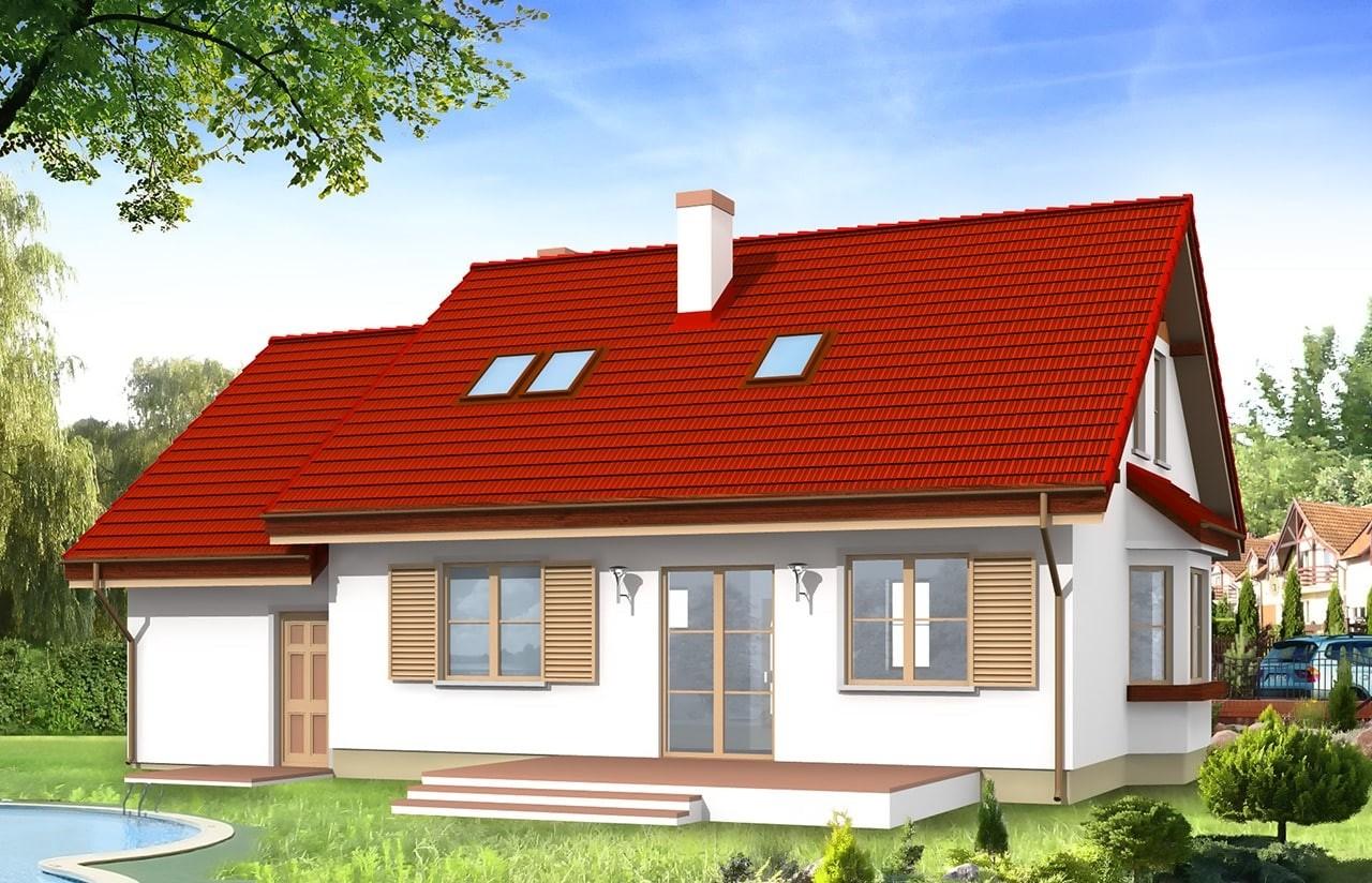 Projekt domu Zgrabny - wizualizacja tylna odbicie lustrzane
