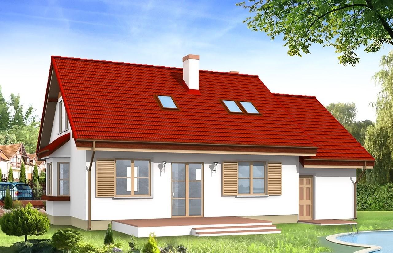 Projekt domu Zgrabny - wizualizacja tylna