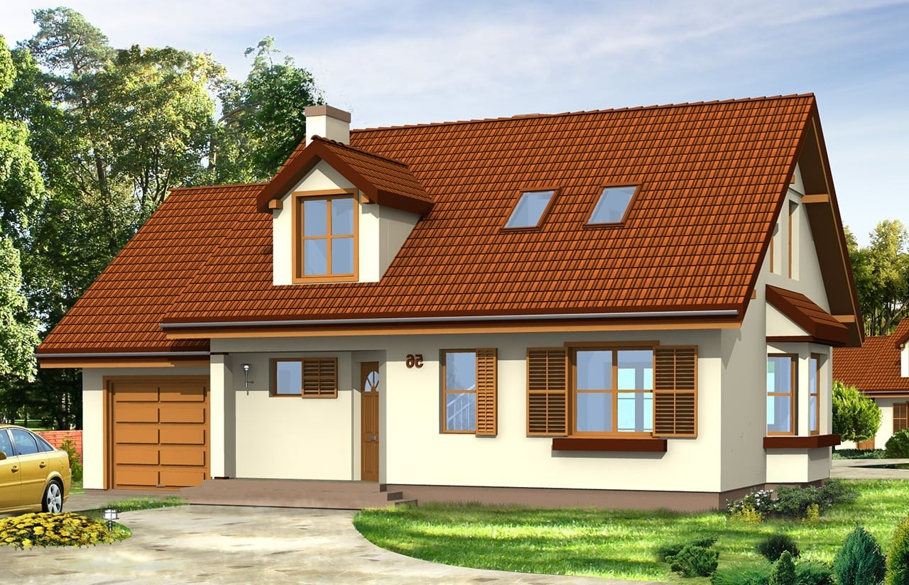 Projekt domu Zgrabny z lukarnami - wizualizacja frontowa odbicie lustrzane