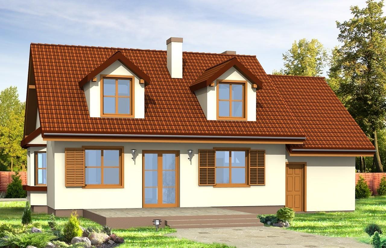 Projekt domu Zgrabny z lukarnami - wizualizacja tylna odbicie lustrzane