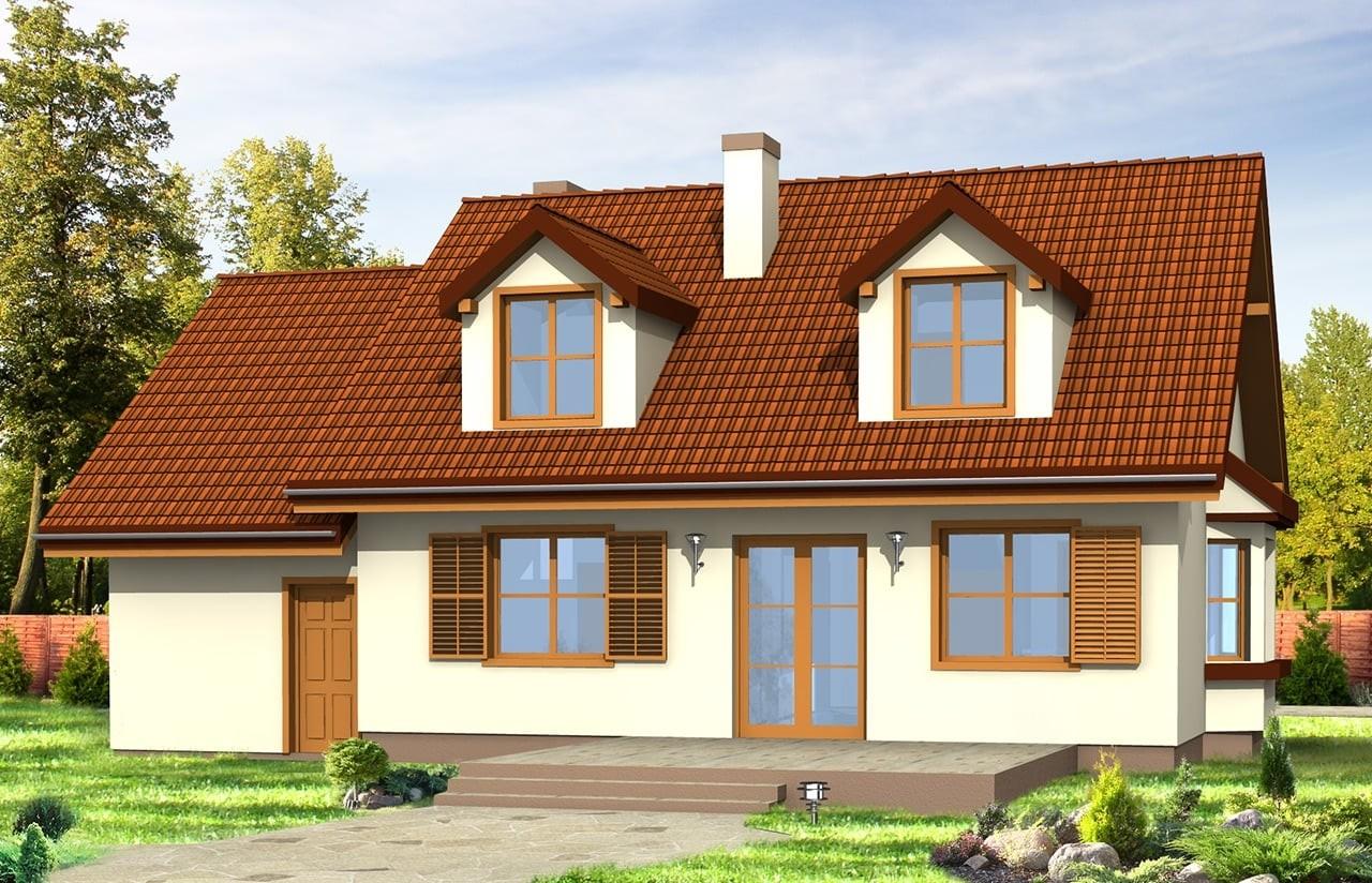 Projekt domu Zgrabny z lukarnami - wizualizacja tylna