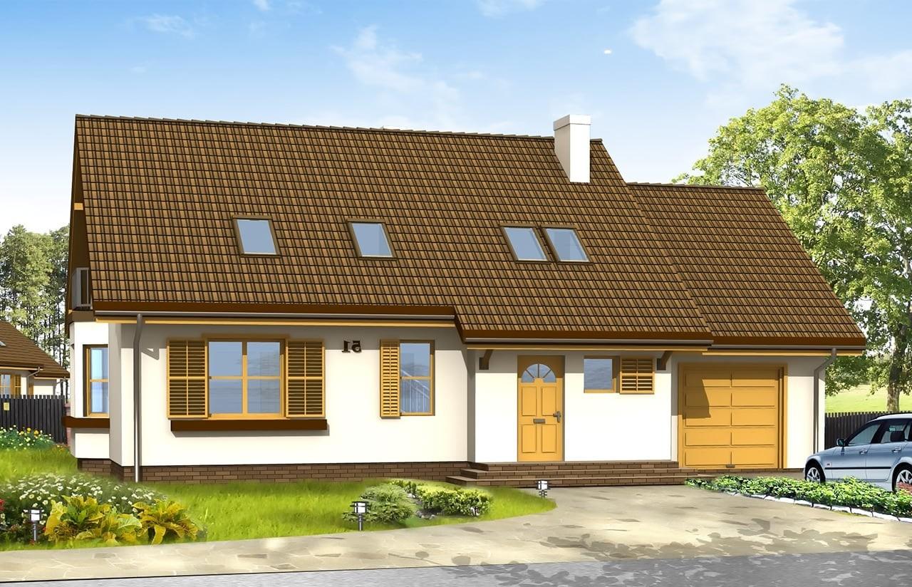Projekt domu Zgrabny z przedsionkiem - wizualizacja frontowa odbicie lustrzane