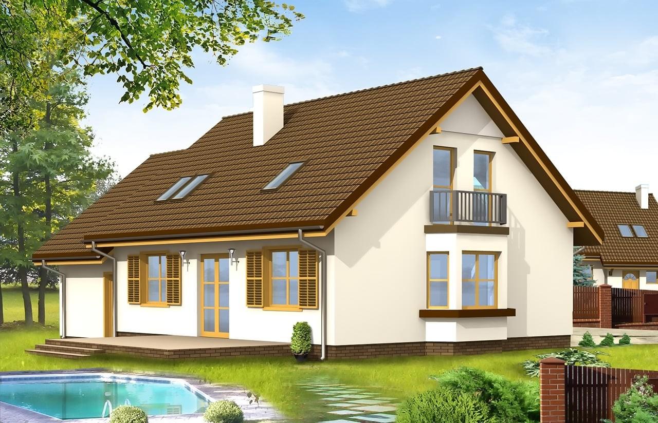 Projekt domu Zgrabny z przedsionkiem - wizualizacja tylna odbicie lustrzane