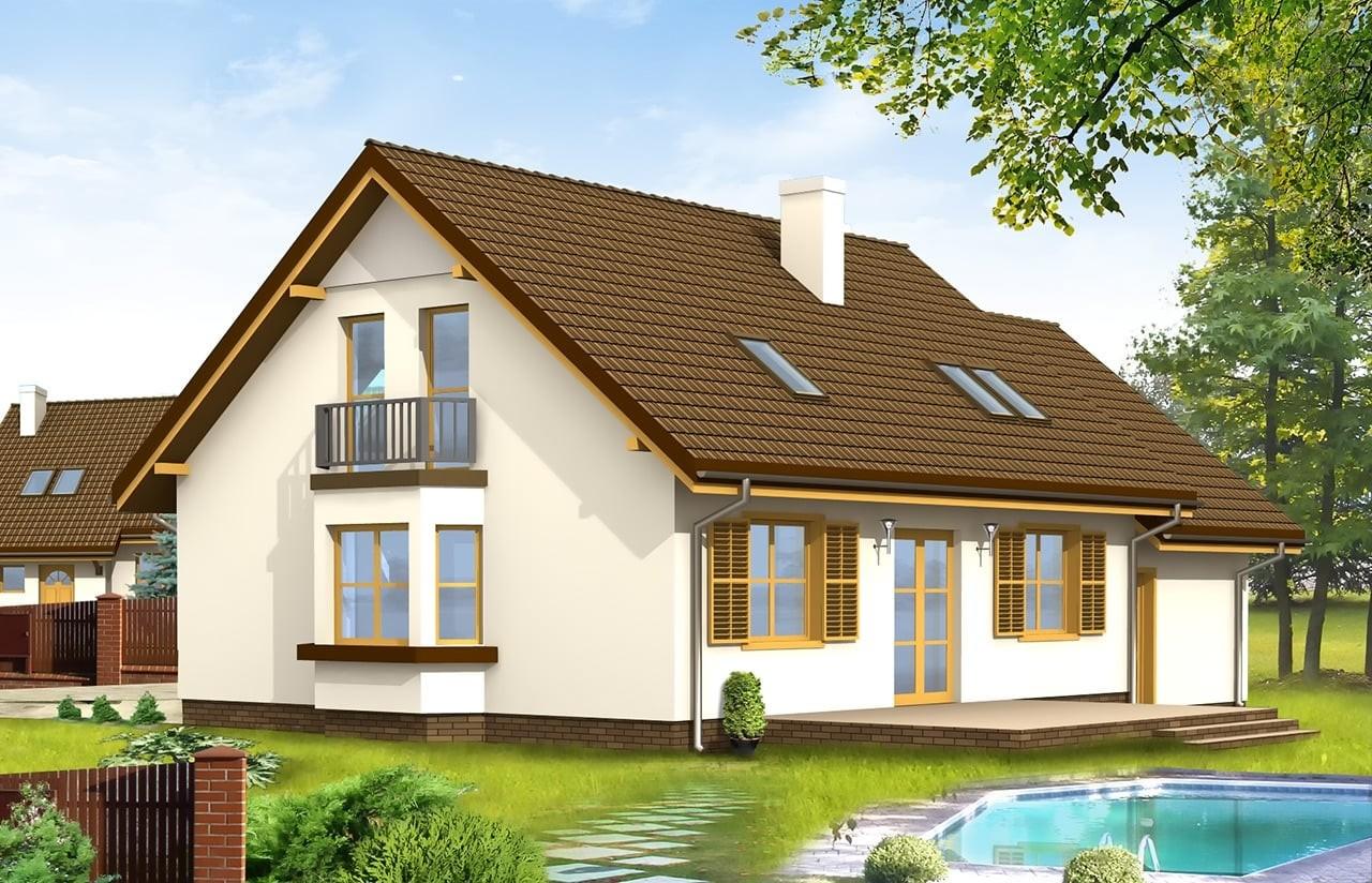 Projekt domu Zgrabny z przedsionkiem - wizualizacja tylna