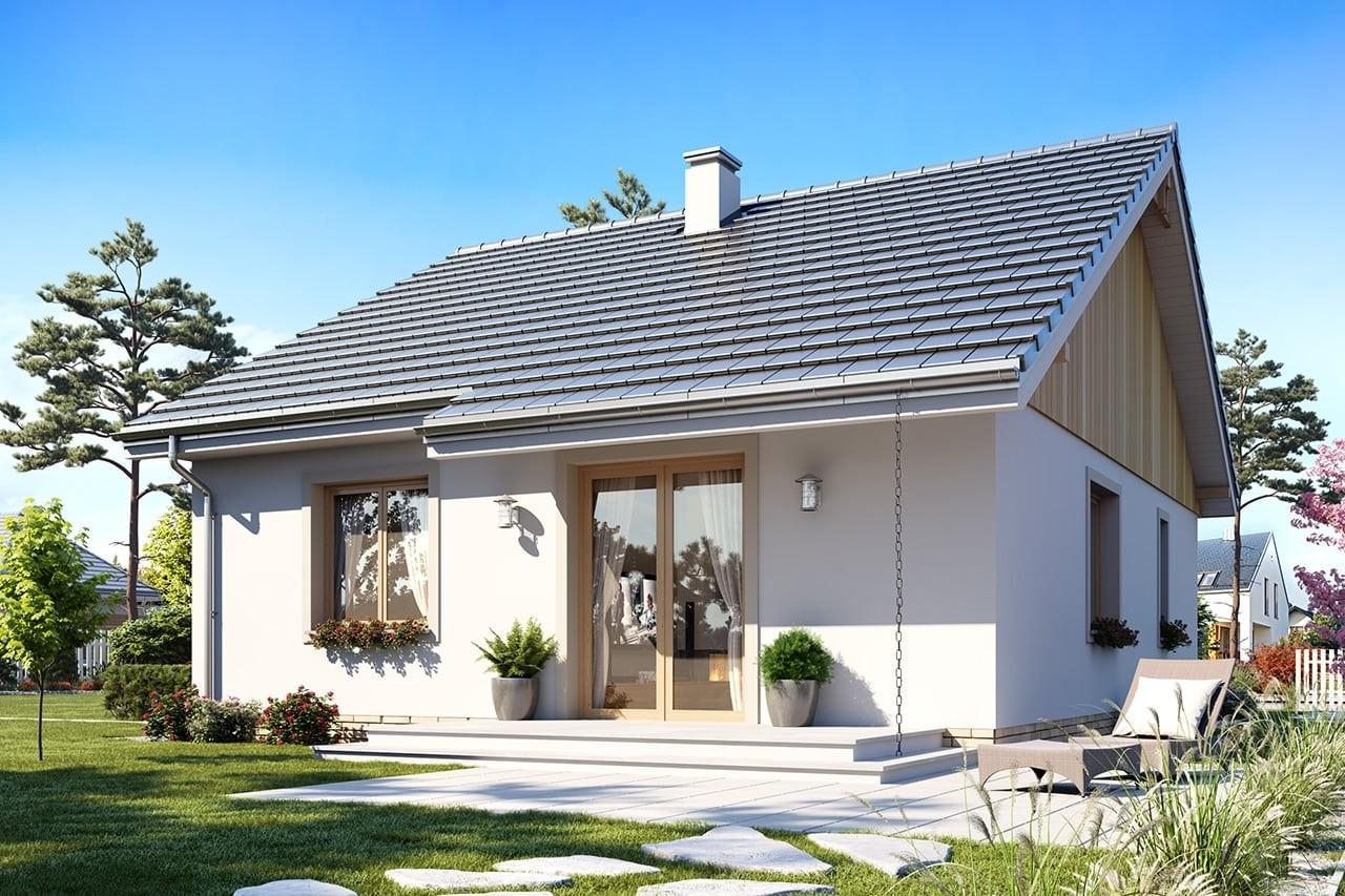 Projekt domu Zosia 4 - wizualizacja tylna odbicie lustrzane