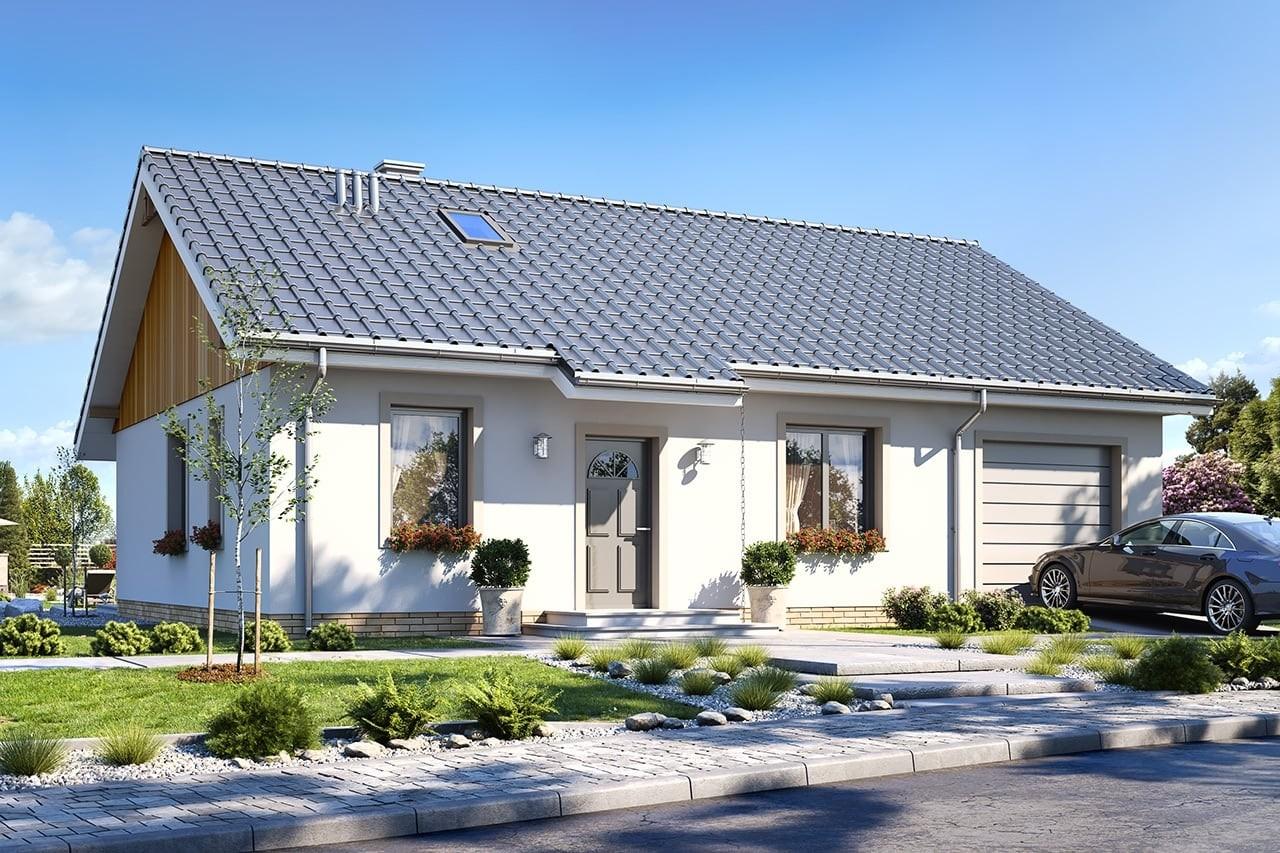 Projekt domu Zosia 6 - wizualizacja frontowa odbicie lustrzane