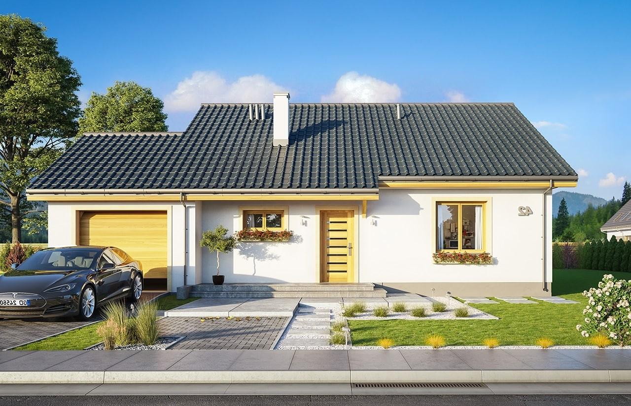 Projekt domu Zosia 8 - wizualizacja frontowa odbice lustrzane
