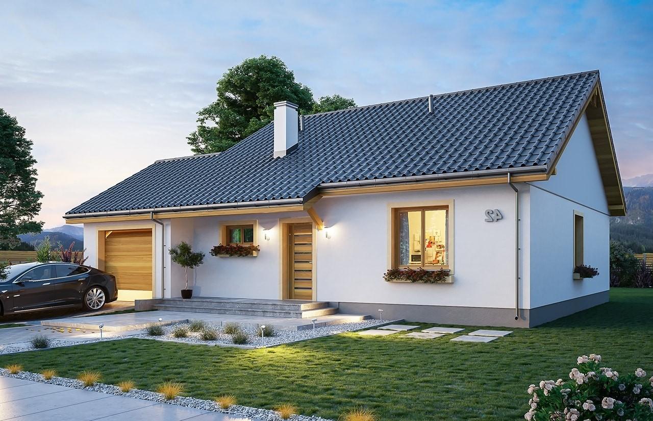 Projekt domu Zosia 8 - wizualizacja frontowa 2 odbicie lustrzane
