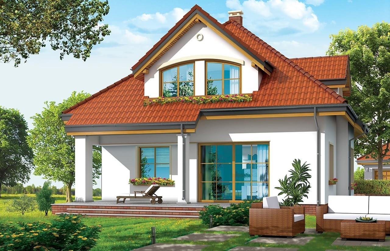 Projekt domu Zuzia - wizualizacja tylna odbicie lustrzane