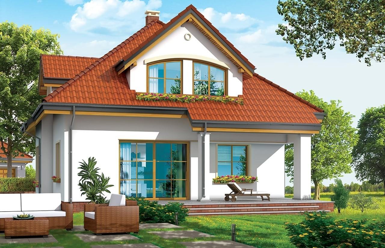 Projekt domu Zuzia - wizualizacja tylna