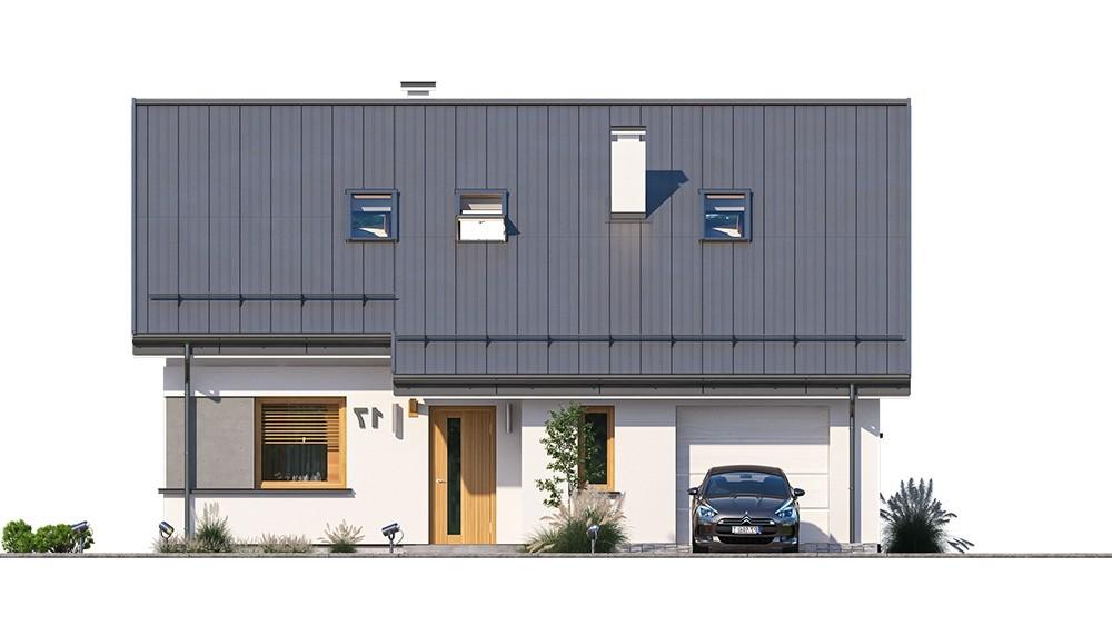 Projekt domu Ambitny - elewacja odbicie lustrzane