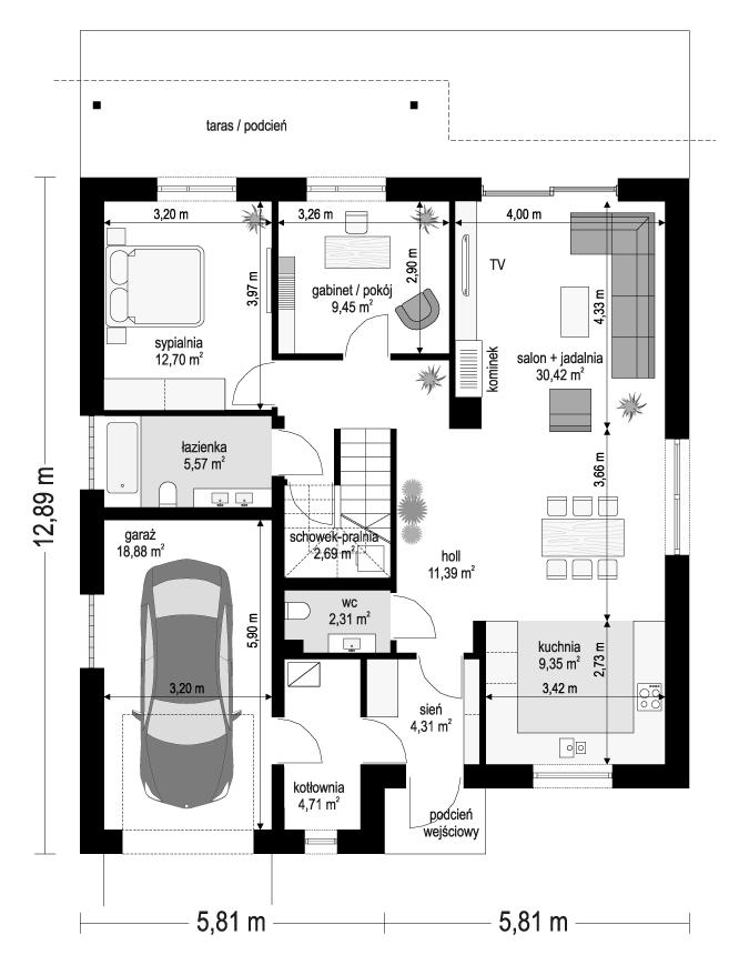 Projekt domu Ambitny - rzut parteru