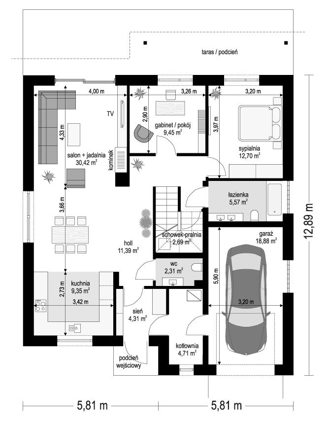 Projekt domu Ambitny - rzut parteru odbicie lustrzane