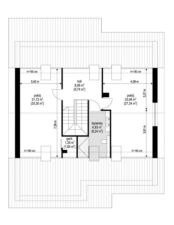 Projekt domu Ambitny - rzut poddasza