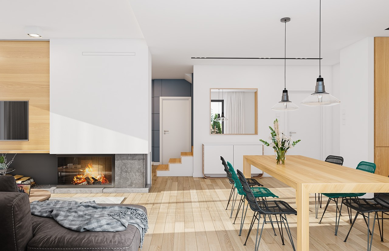 Projekt domu Ambitny wizualizacja wnetrza odbicie lustrzane
